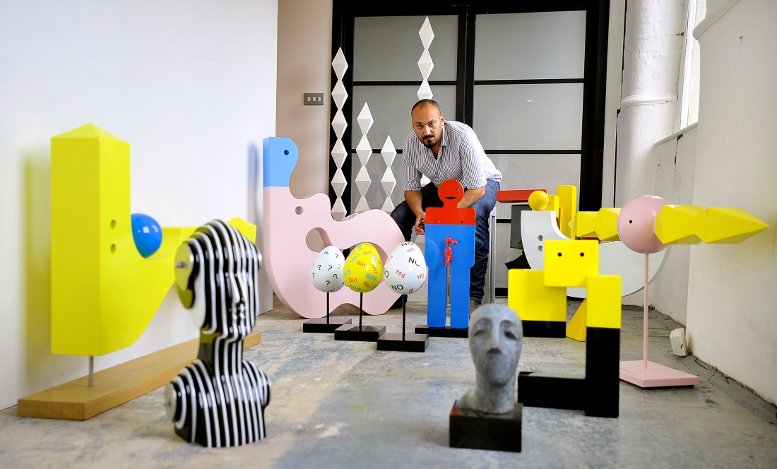 ' My husband and sculptures in Damside Mill'