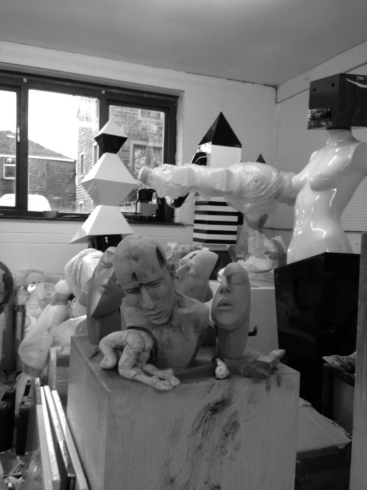 sculptures in studio
