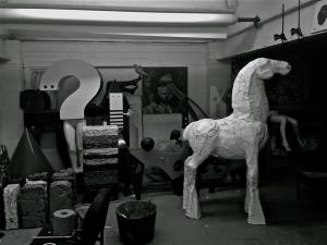 Busy studio and a refined horse