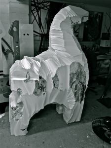 'Polystyrene block at the start of carving'